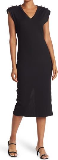 Платье миди в рубчик с V-образным вырезом и пуговицами на плечах ONE ONE SIX