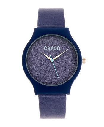 Мужские блестящие синие часы с ремешком из искусственной кожи 36 мм Crayo