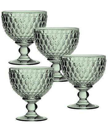 Бостонская зеленая хрустальная тарелка для десерта / бокал для шампанского, набор из 4 шт. Villeroy & Boch