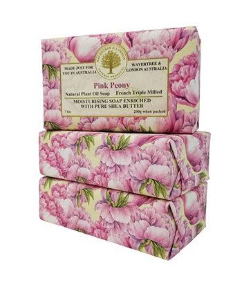 Мыло «Розовый пион», 3 упаковки, каждая по 7 унций Wavertree & London