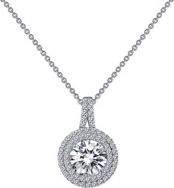 Набор зубцов из стерлингового серебра с платиновым покрытием, ожерелье с подвеской в виде гало с имитацией бриллианта и двойным паве LaFonn