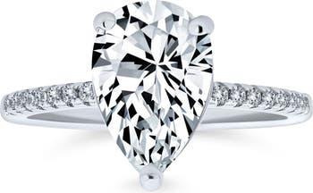 Обручальное кольцо пасьянс CZ из стерлингового серебра с грушей Bling Jewelry