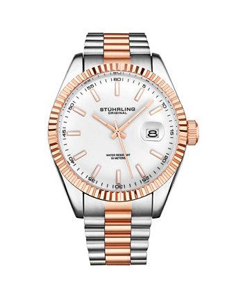 Мужские серебряные тона - часы с браслетом из нержавеющей стали Stuhrling