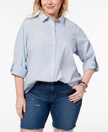 Хлопковая универсальная рубашка больших размеров, созданная для Macy's Tommy Hilfiger
