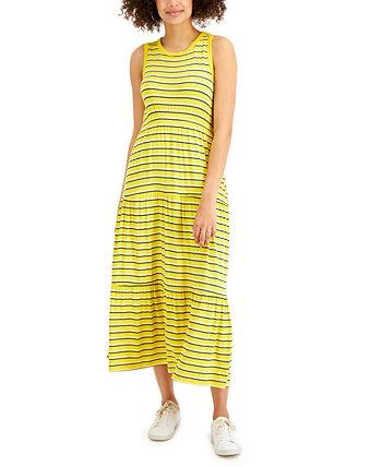 Полосатое платье макси без рукавов, созданное для Macy's Style & Co