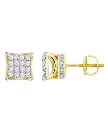 Мужская квадратная серьга с бриллиантом (3/4 карата) из желтого золота 10 карат Macy's