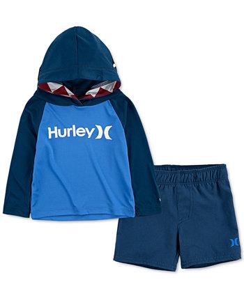 Мальчики 2-х шт. UPF 50+ Набор цветных футболок и плавок с капюшоном и цветными блоками Hurley