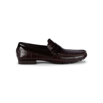 Charles Croc-Embossed Leather Loafers Donald J Pliner