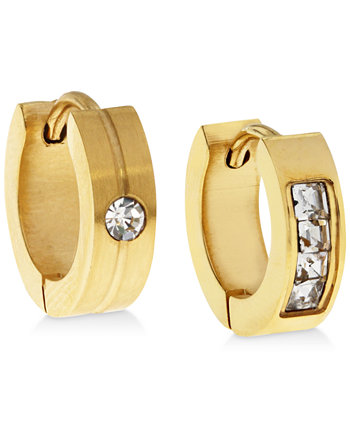 Мужские серьги-кольца с золотыми тонами из нержавеющей стали и циркония Sutton by Rhona Sutton