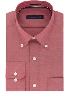 Классические рубашки без железа Стандартный крой Однотонный воротник на пуговицах Tommy Hilfiger
