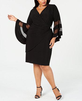 Платье больших размеров Illusion с расклешенными рукавами R & M Richards