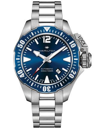 Мужские швейцарские автоматические часы цвета хаки Frogman из нержавеющей стали с браслетом 42 мм H77705145 Hamilton