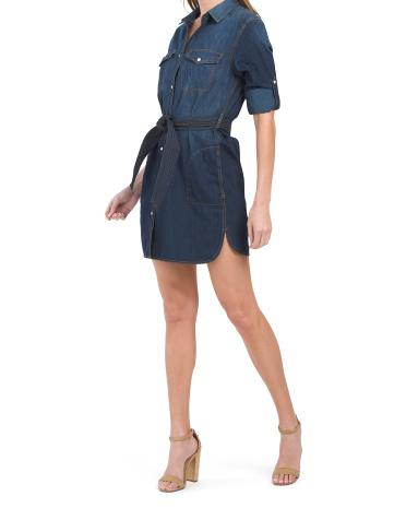 Gelsey Snap Button Western Inspired Shirt Dress Velvet Heart