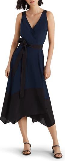 Шелковое платье с запахом и цветными блоками CLUB MONACO