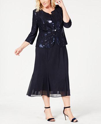 Шифоновое платье и куртка больших размеров с пайетками Alex Evenings