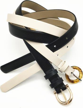 2 for 1 Solid Belts Linea Pelle