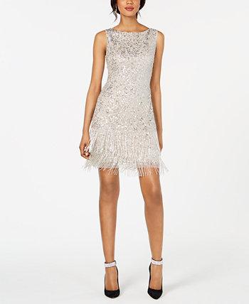 Короткое платье с бисером и бахромой Adrianna Papell