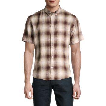 Kirby Slim-Fit Plaid Linen Shirt Billy Reid