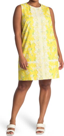 Sleeveless Lace Trim Floral Shift Dress Eliza J