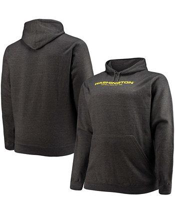 Мужская темно-серая толстовка с капюшоном с логотипом футбольной команды Вашингтона Big and Tall Profile