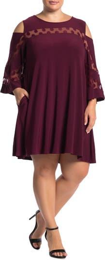 Платье с открытыми плечами и украшенным вырезом Nina Leonard