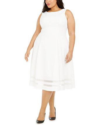 Модное платье миди больших размеров с иллюзионным подолом Calvin Klein