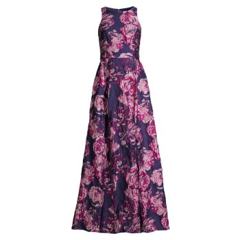 Парчовое платье без рукавов с цветочным рисунком Aidan Mattox