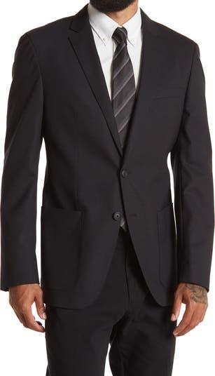 Черное спортивное пальто с двумя пуговицами и лацканами Haeven BOSS Hugo Boss