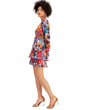 Мини-платье с V-образным вырезом и оборками с цветочным принтом, созданное для Macy's Bar III