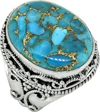 Массивное кольцо из стерлингового серебра с зеленым ониксом и листьями Nitya