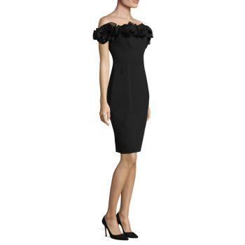 Платье с открытыми плечами и оборками Aidan Mattox