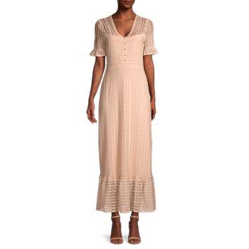 Lace-Overlay Maxi Dress BCBGMAXAZRIA