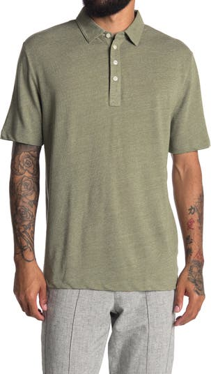 Рубашка-поло из смесового льна Thomas Dean