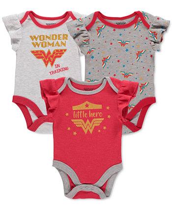 Комплект из 3 боди Wonder Woman для маленьких девочек HAPPY THREADS