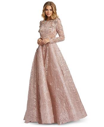 Бальное платье с длинными рукавами и украшением MAC DUGGAL