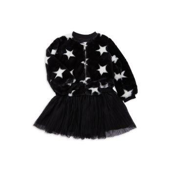 Little Girl's & Girl's 3-Piece Star Faux Fur Jacket, T-Shirt & Skirt Set Pippa & Julie