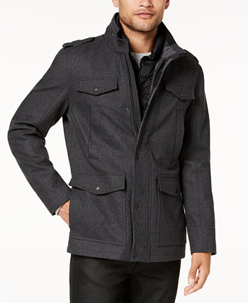 Мужское пальто в стиле милитари с клетчатой отделкой GUESS