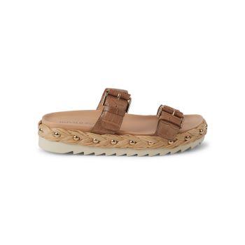 Larabee Leather Slide Sandals Donald J Pliner