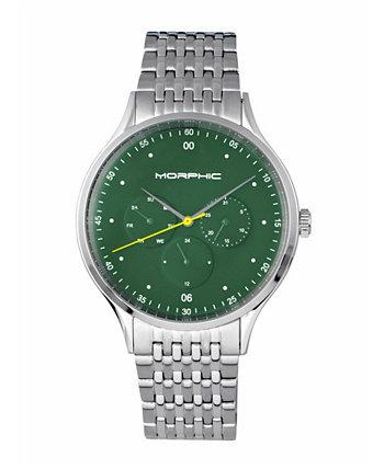 Серия M65, зеленый циферблат, серебряный браслет с днем недели и датой, 42 мм Morphic