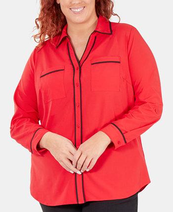 Рубашка Roll-Tab большого размера с контрастной отделкой NY Collection