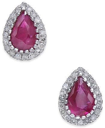 Серьги-гвоздики из сапфира (9/10 кт.) И бриллиантов (1/8 кт.) Из белого золота 585 пробы (также доступны в сертифицированном рубине) Macy's