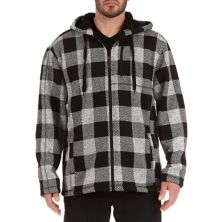 Men's Smith's Workwear Buffalo Plaid Sweater Fleece Hooded Jacket Smith's Workwear