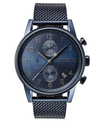 Мужские часы-хронограф-навигатор Hugo Boss с синим браслетом из нержавеющей стали, 44 мм HUGO BOSS