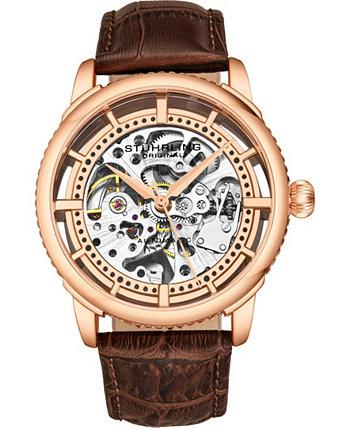 Оригинальные мужские скелеты, роза, коричневые часы с кожаным ремешком Stuhrling