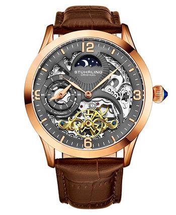 Мужские часы с коричневым кожаным ремешком 45 мм Stuhrling