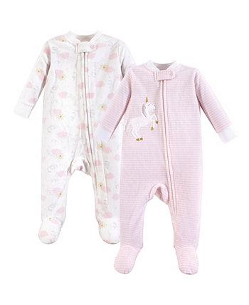 Детское видение 0-9 месяцев Унисекс Детский флисовый костюм / комбинезоны и сна и игры, сна и игры 2-Pack Yoga Sprout