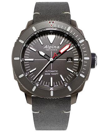 Мужские швейцарские автоматические часы Seastrong Diver 300 с серым кожаным ремешком, 44 мм Alpina