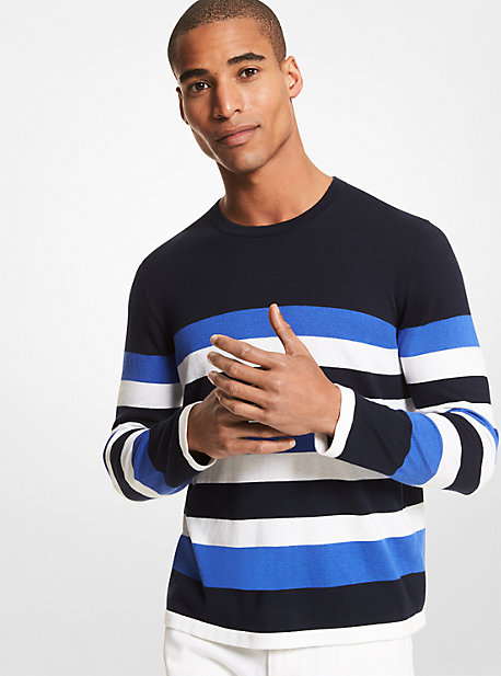 Striped Cotton Blend Sweater Michael Kors