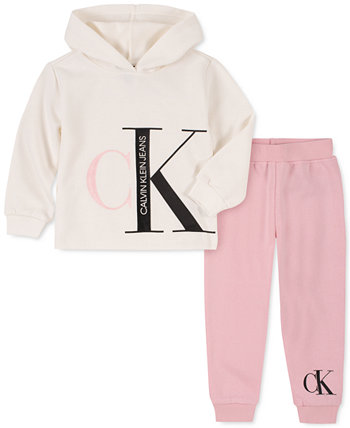Baby Girls 2-Pc. Флисовый худи с логотипом и брюки-джоггеры Calvin Klein