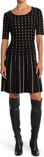 Elbow Sleeve Fit & Flare Sweater Dress Nina Leonard